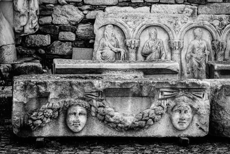 Antyczna maskowa ulga Aphrodisias Afrodisias Antyczny miasto w Caria, Karacasu, Aydin, Turcja fotografia stock