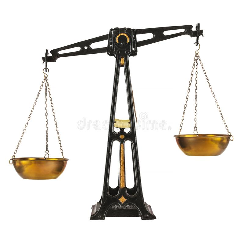 Antyczna obsady żelaza apteki równowaga odizolowywająca na bielu obraz stock