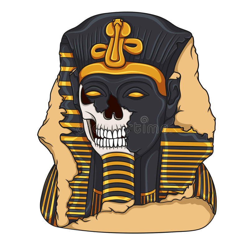 Antyczna pharaoh statua czaszka ilustracja wektor