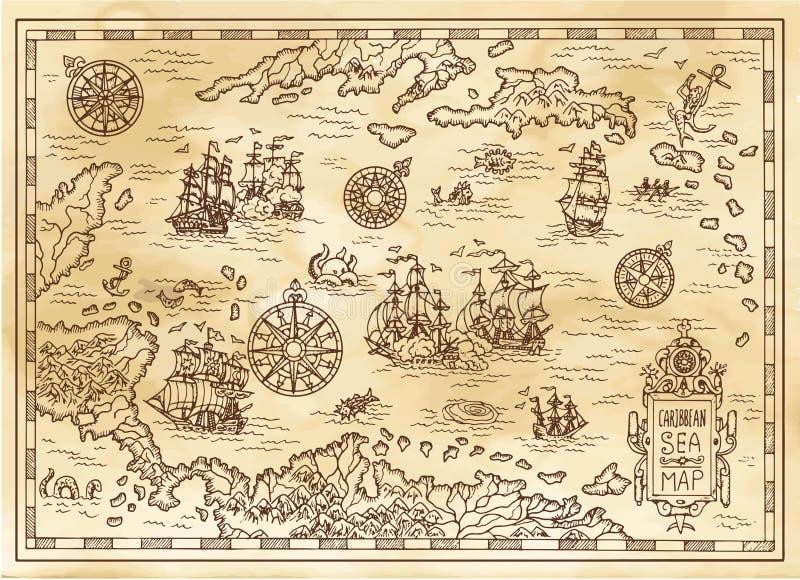 Antyczna pirat mapa morze karaibskie z statkami, wyspami i fantazj istotami, ilustracji