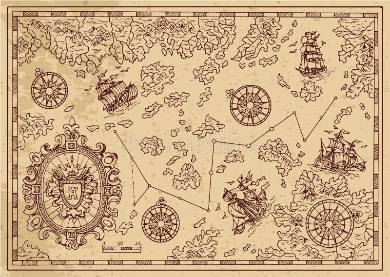 Antyczna pirat mapa z dekoracyjną ramą, żeglowanie statkami i wyspami, ilustracji