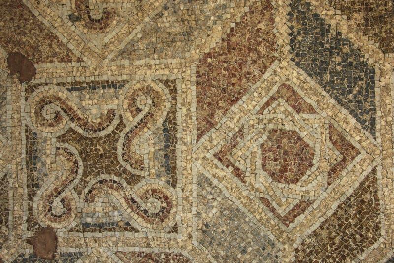 Antyczna podłogowa Bizantyjska mozaika od rzymskich ruin przy Qais Umm, anc fotografia royalty free