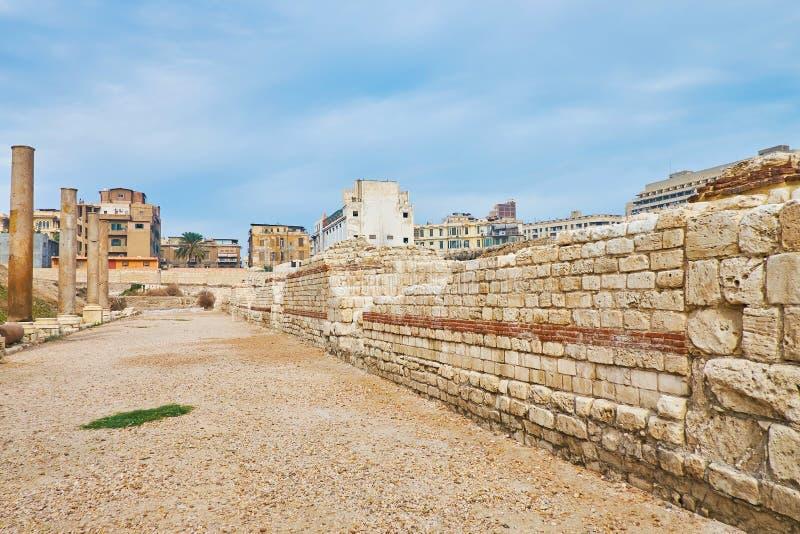 Antyczna Romańska ulica, Aleksandria, Egipt obraz stock