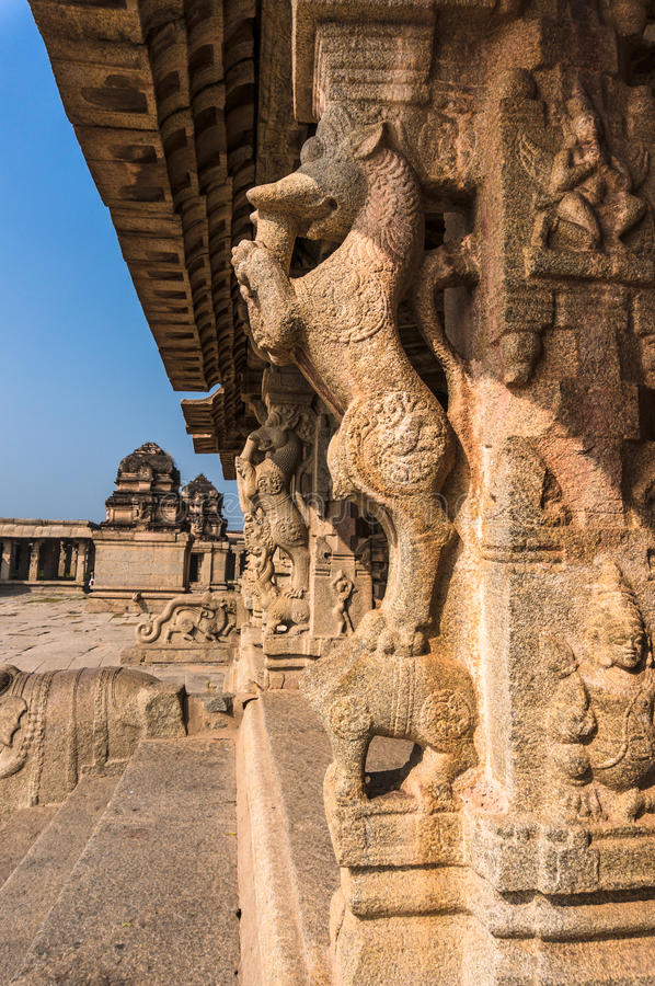 Antyczna rujnująca świątynia w Hampi, Karnataka, India zdjęcia stock