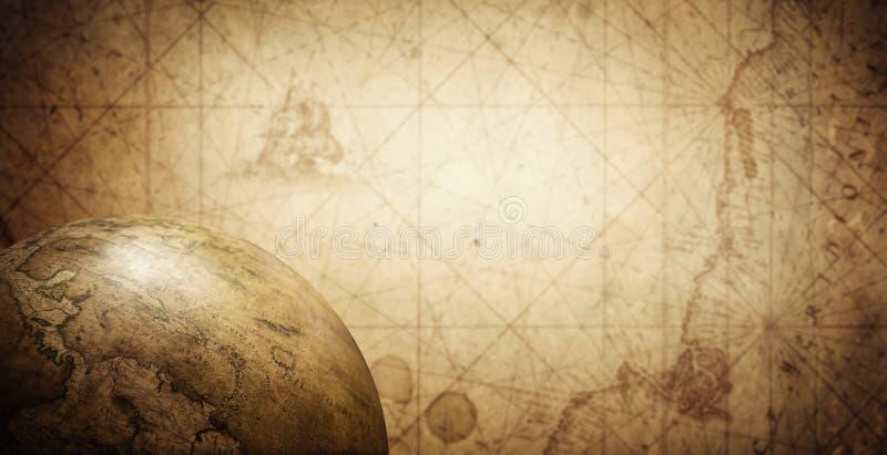 Antyczna stara kula ziemska na rocznik mapy tle Selekcyjna ostrość obraz royalty free