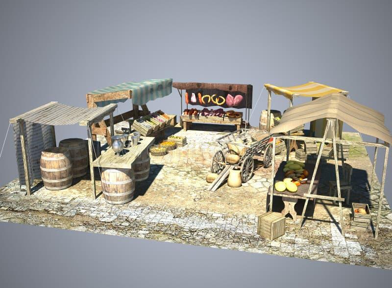 Antyczna stara rynku 3D ilustracja royalty ilustracja