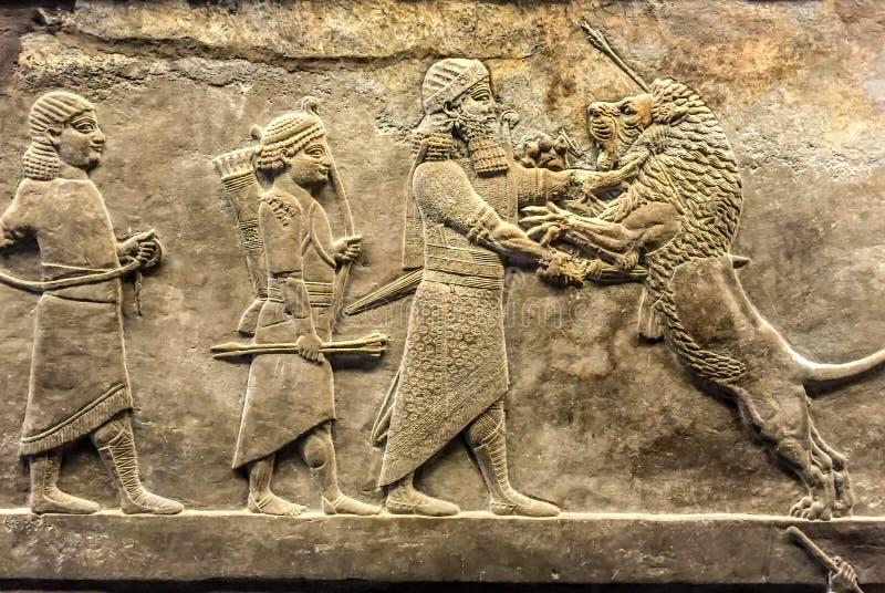 Antyczna ulga asyryjczyk zdjęcie royalty free