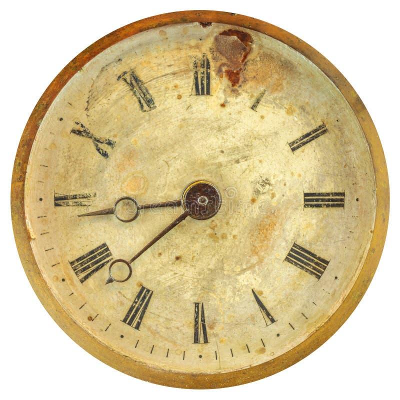 Antyczna wietrzejąca zegarowa twarz z zatartymi liczbami zdjęcie royalty free
