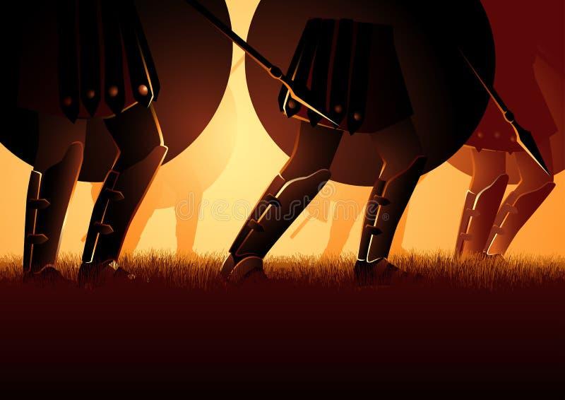 Antyczna wojska Marzec mienia osłona i dzida ilustracji