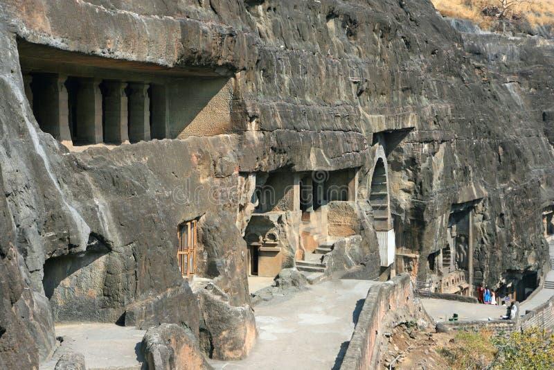 Antyczne Buddysty Skały świątynie przy Ajanta obraz royalty free