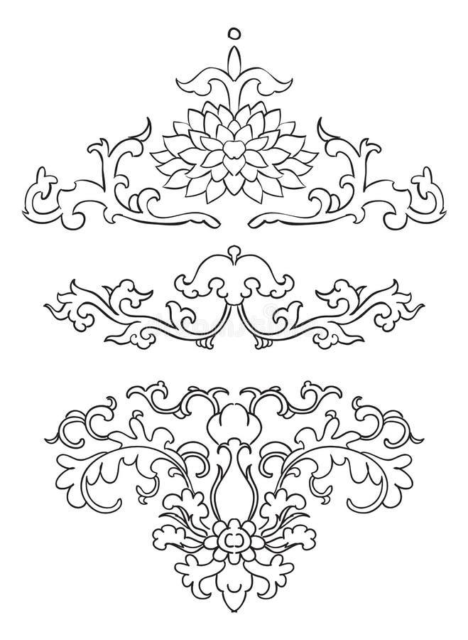 Antyczne Chińskie winiety kwiaty royalty ilustracja