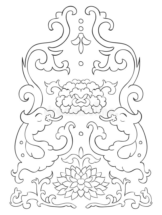 Antyczne Chińskie winiety kwiaty i smoki royalty ilustracja