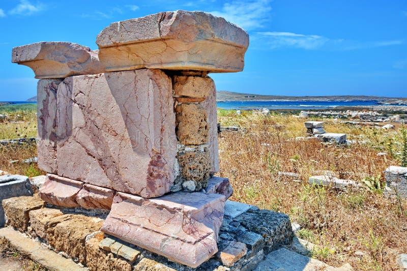 antyczne delos Greece ruiny obrazy royalty free
