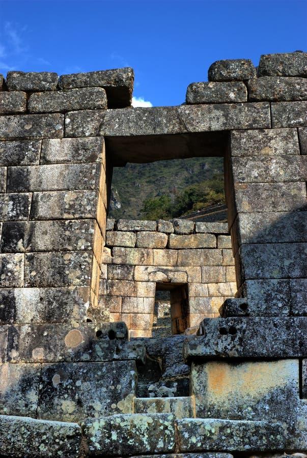 antyczne drzwi inka machupicchu ruiny obrazy stock