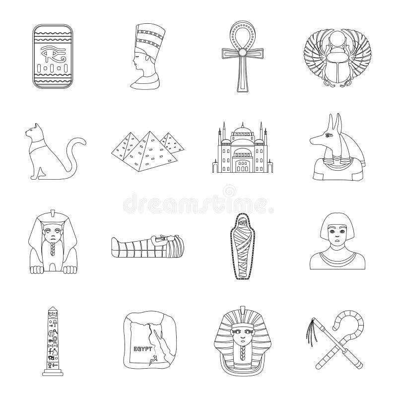 Antyczne Egipt ustalone ikony w konturu stylu Duża kolekcja antycznego Egipt wektoru symbol royalty ilustracja