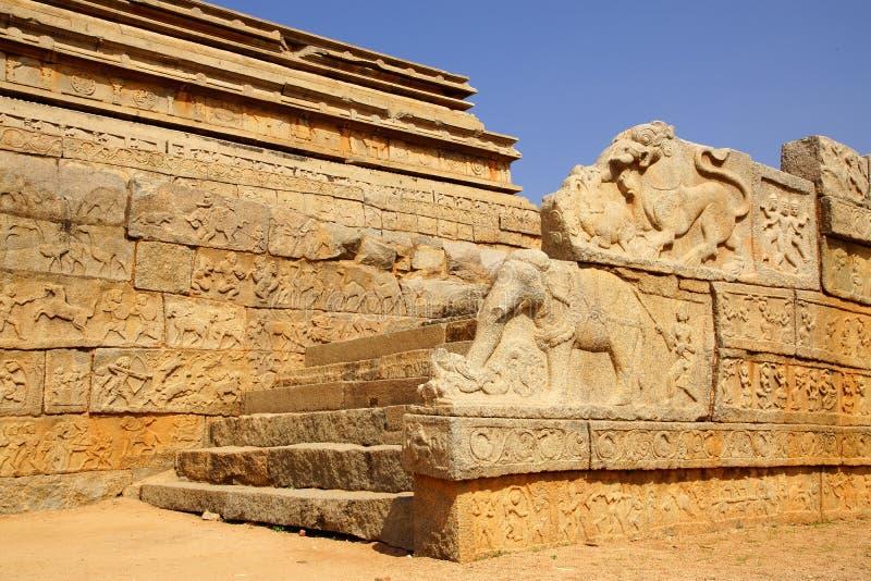 antyczne hampi ind ruiny świątynne obraz stock