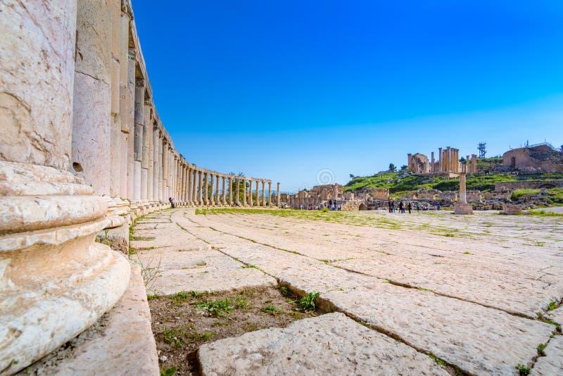 Antyczne i rzymskie ruiny Jerash Gerasa, Jordania zdjęcie stock