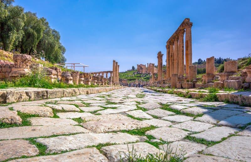 Antyczne i rzymskie ruiny Jerash Gerasa, Jordania fotografia royalty free