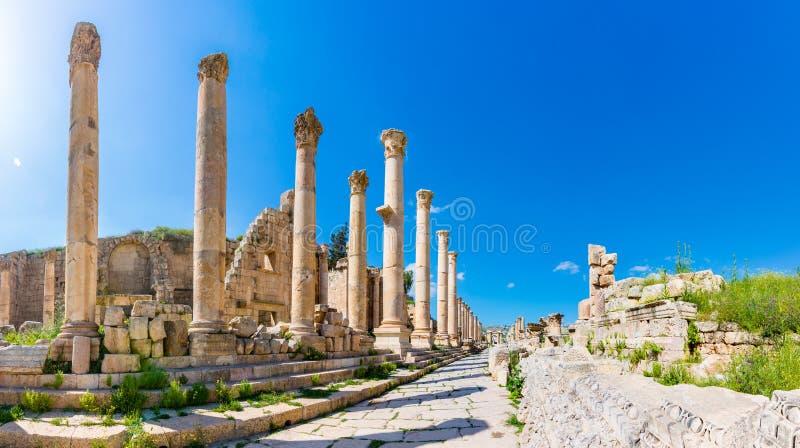 Antyczne i rzymskie ruiny Jerash Gerasa, Jordania fotografia stock