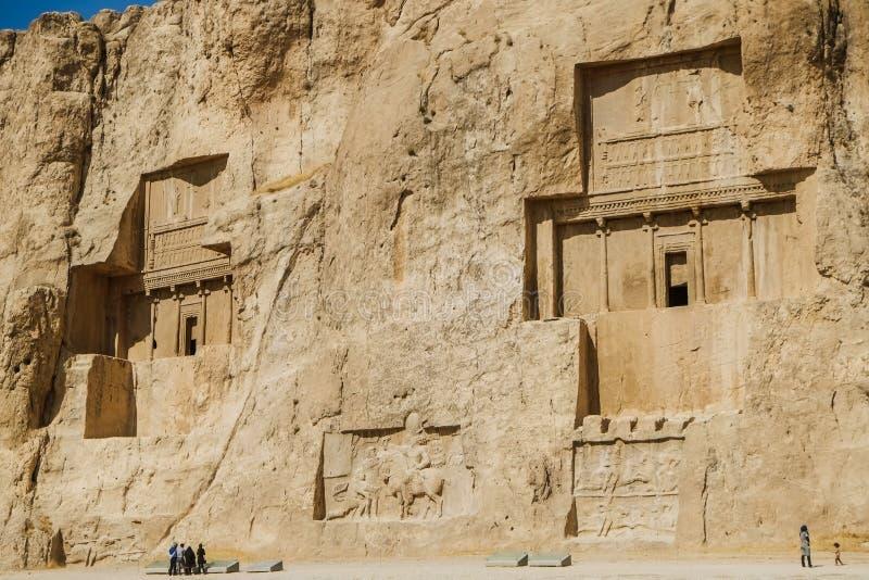 Antyczne irańczyk skały ulgi Naqsh-e Rustam obrazy stock