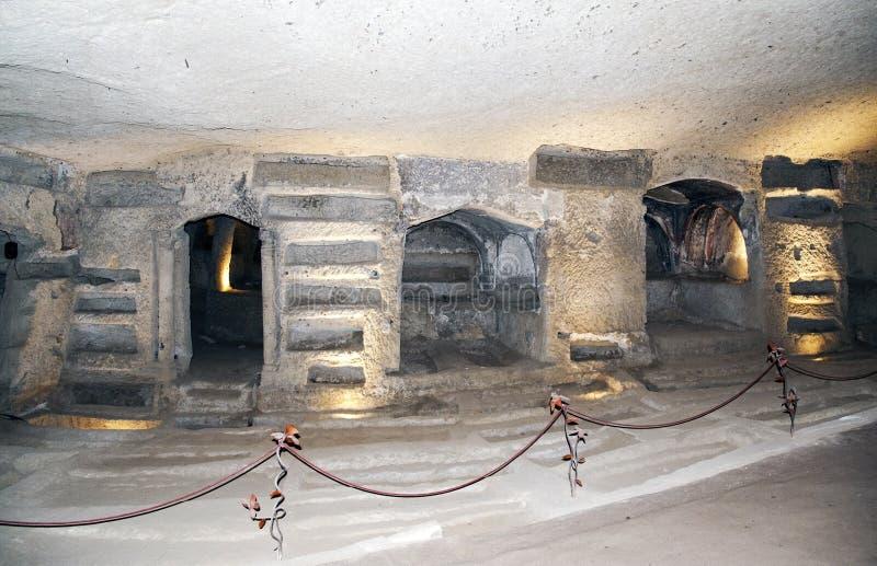 Antyczne katakumby dokąd jak tylko San Gennaro zakopywał obrazy royalty free
