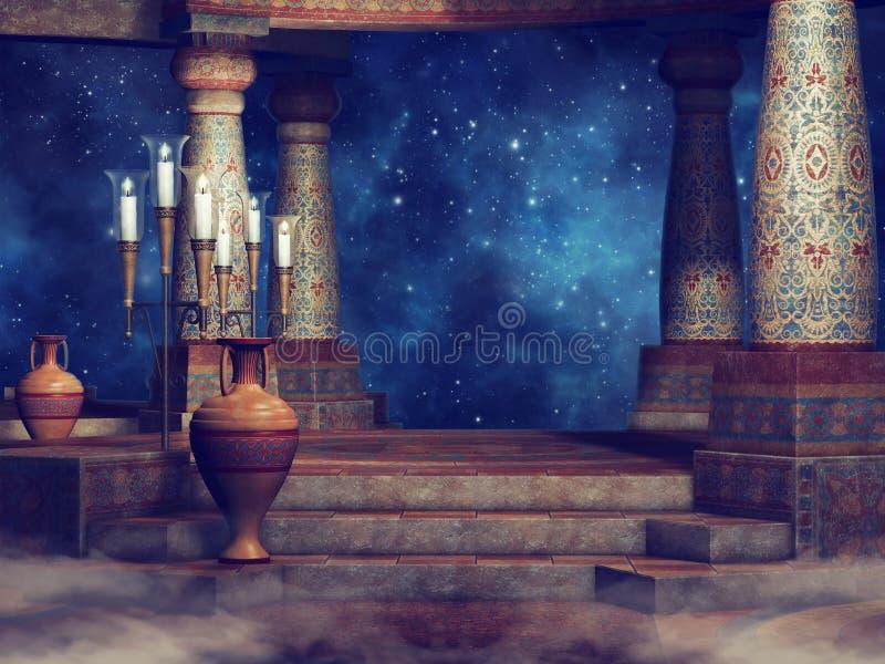 Antyczne kolumny przy nocą ilustracji