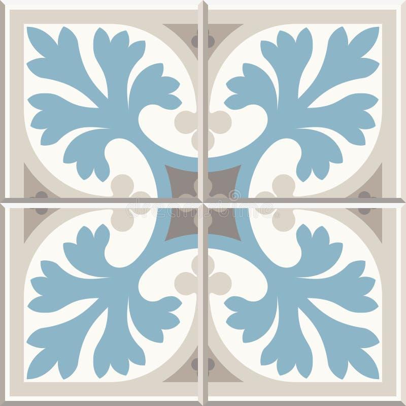 Antyczne podłogowe ceramiczne płytki Wiktoriański Angielski podłogowy tafluje projekt, bezszwowy wektoru wzór ilustracja wektor