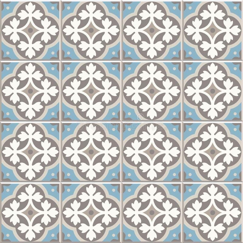 Antyczne podłogowe ceramiczne płytki Wiktoriański Angielski podłogowy tafluje projekt, bezszwowy wektoru wzór