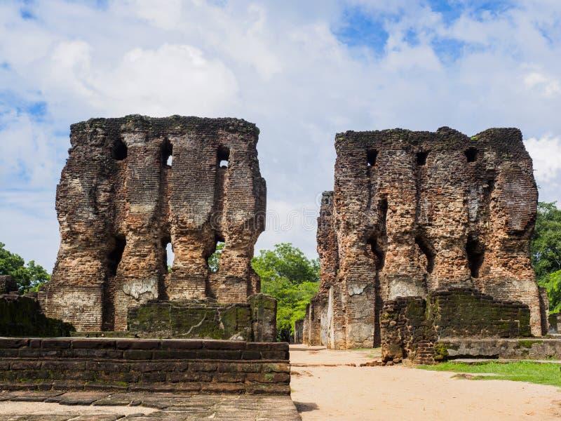 Antyczne ruiny lankijczyka pałac królewski w Polonnaruwa obrazy stock