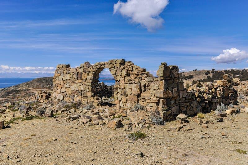 Antyczne ruiny na Isla Del Zol na Jeziornym Titicaca w Bolivi fotografia stock