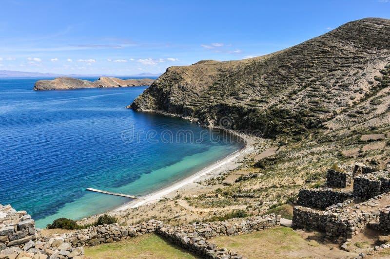 Antyczne ruiny na Isla Del Zol na Jeziornym Titicaca w Boliwia obrazy royalty free