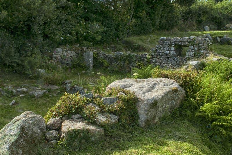 Antyczne ruiny przy Chysauster Cornwall obrazy royalty free