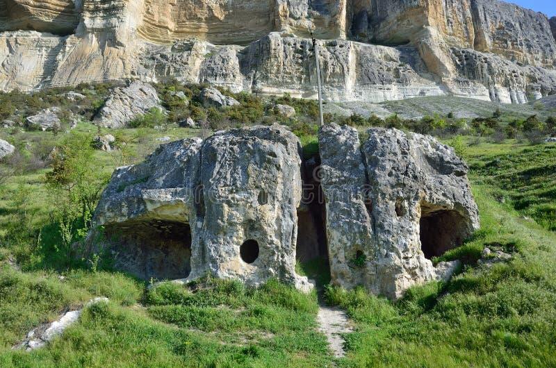 Antyczne ruiny w Kachi-Kalion, Crimea, Bakhchisaray okręg obrazy stock
