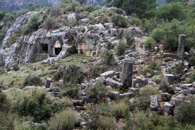 Antyczne ruiny w Pinara fotografia royalty free