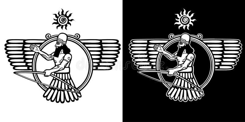 Antycznego Asyryjskiego bóstwa oskrzydlona łuczniczka Czarny i biały opcja royalty ilustracja