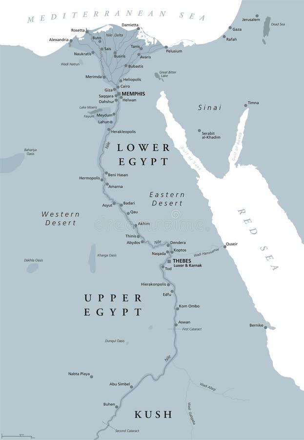 Antycznego Egipt mapy szarość barwić ilustracja wektor