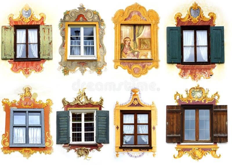 antycznego kolażu oberammergau unikalny okno obrazy stock