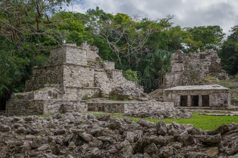 Antycznego majowia świątynny kompleks w Muil Chunyaxche, Meksyk obraz royalty free