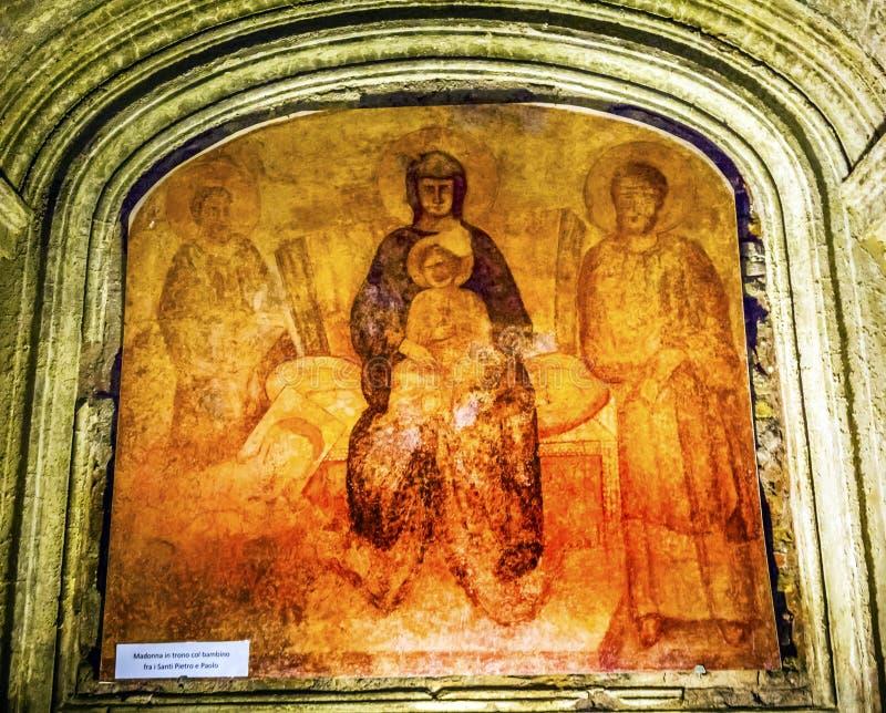 Antycznego Maryjnego dziecka fresku Luke ` s Jezusowy dom Pomnikowy Santa Maria fotografia stock