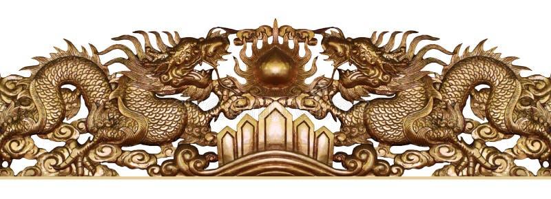Antycznego metalu złota kopia rzeźba smoka sztuki latający wykonywać ręcznie odizolowywam na białych tło, domowy dekoracja plakat obraz stock