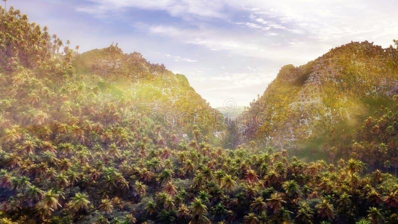 Antycznego miasta ruiny Nad dżunglą ilustracja wektor