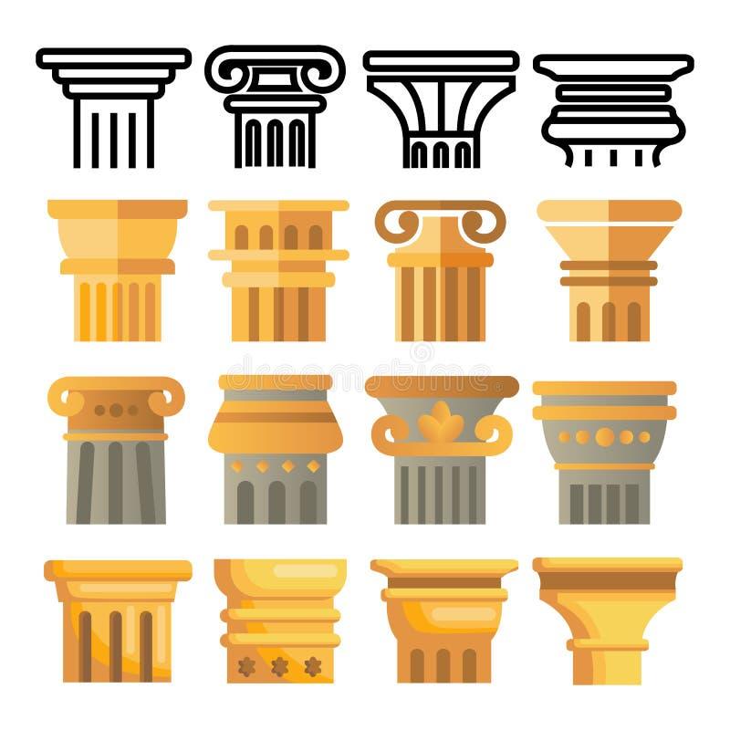 Antycznej Szpaltowej ikony Ustalony wektor Architektura rzymianina symbol starożytny filar Grecja budynek Rzym kultura Stara graf ilustracji