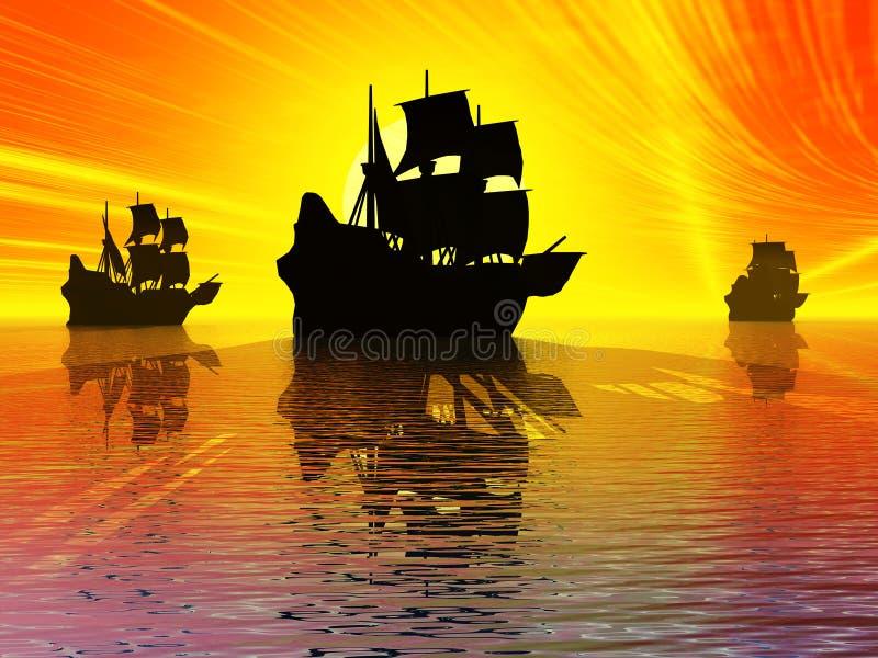 Antyczni żagli statki ilustracja wektor
