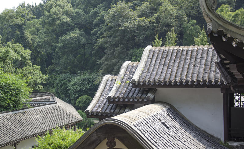 Antyczni budynki i bambus zdjęcia stock
