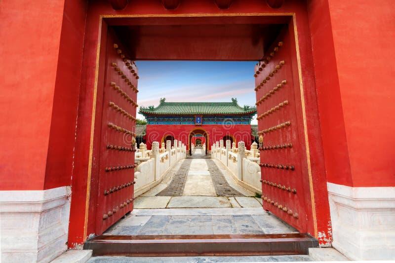 Antyczni budynki w Pekin, Chiny Chiński tekst jest: Zhai pałac imię antyczny budynek obraz stock