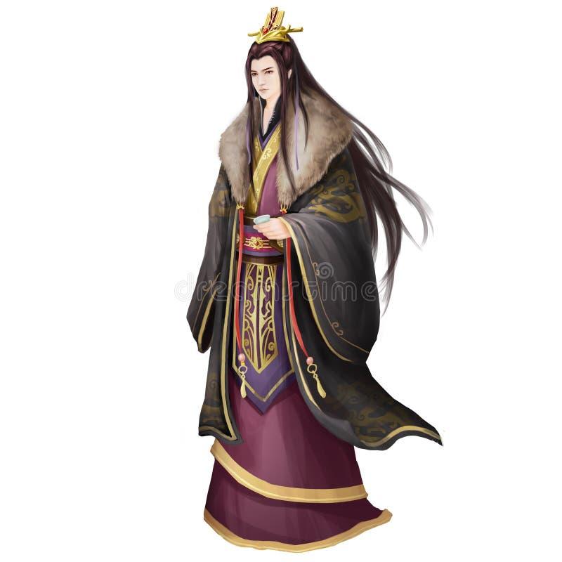 Antyczni chińczycy grafika: Bogaty Młody Delikatny mężczyzna ilustracja wektor