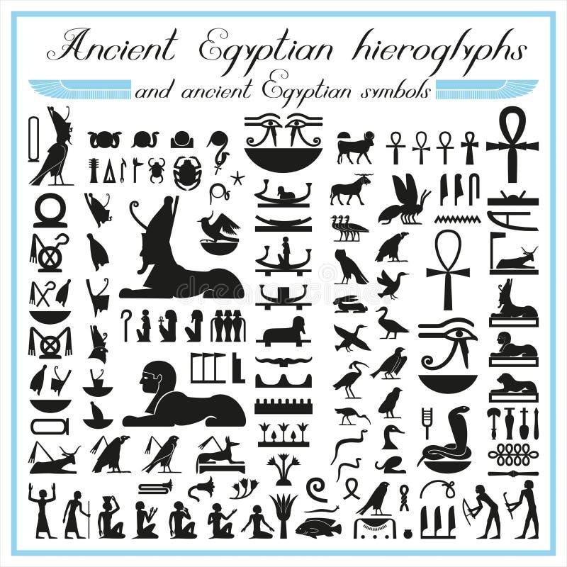 Antyczni Egipscy hieroglify i symbole ilustracji