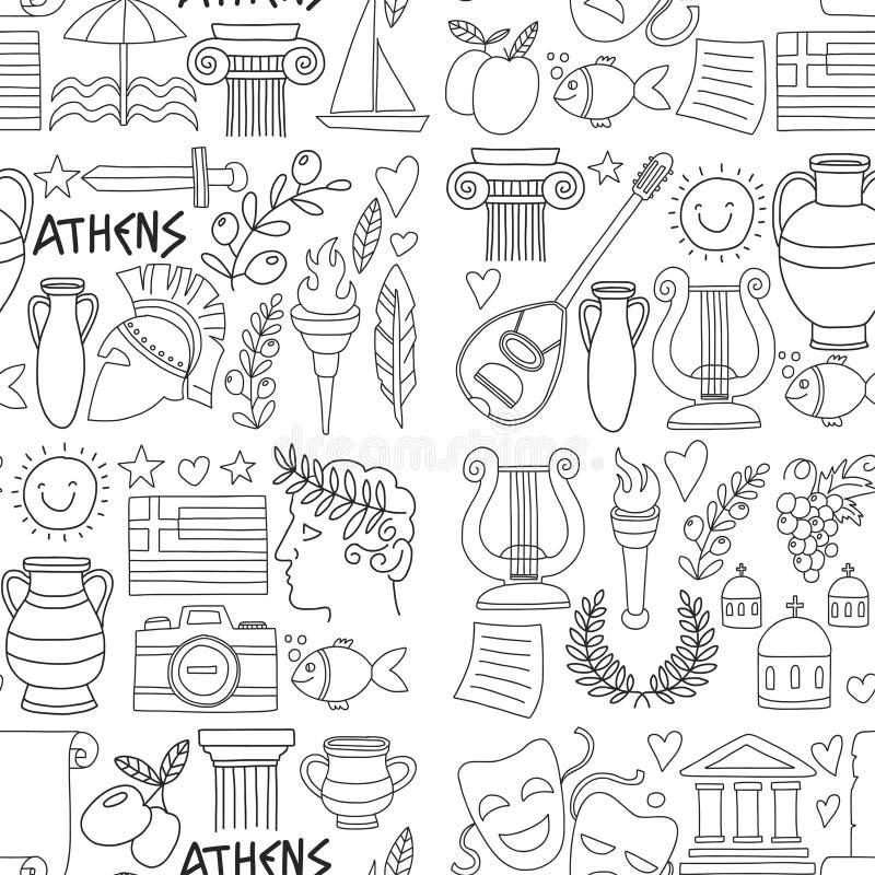 Antyczni Grecja Wektorowi elementy w doodle stylu dla barwić strony Podróżują, historia, muzyka, jedzenie, wino royalty ilustracja