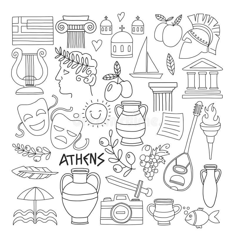 Antyczni Grecja Wektorowi elementy w doodle stylu dla barwić strony Podróżują, historia, muzyka, jedzenie, wino ilustracja wektor