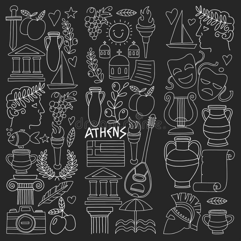 Antyczni Grecja Wektorowi elementy w doodle stylu Podróżują, historia, muzyka, jedzenie, wino ilustracji